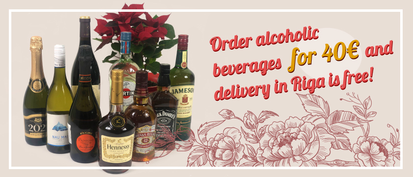 Order alcoholic beverages for 40€ and delivery is free!